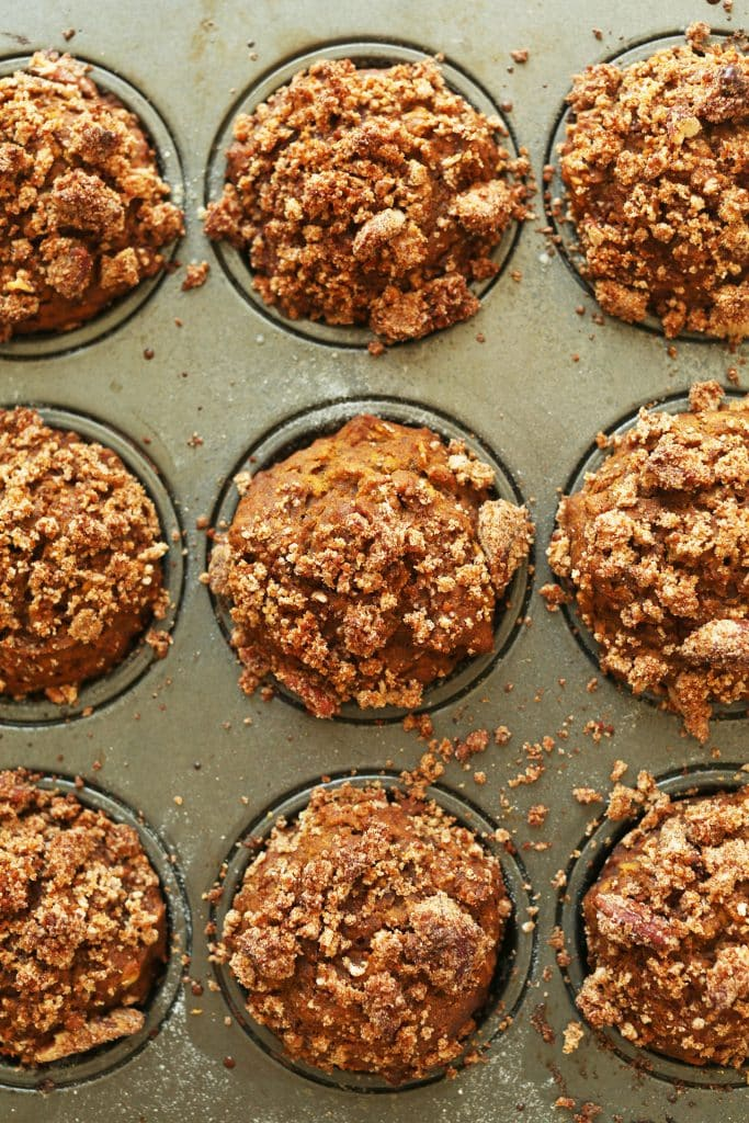 tray of pumpkin spice muffins