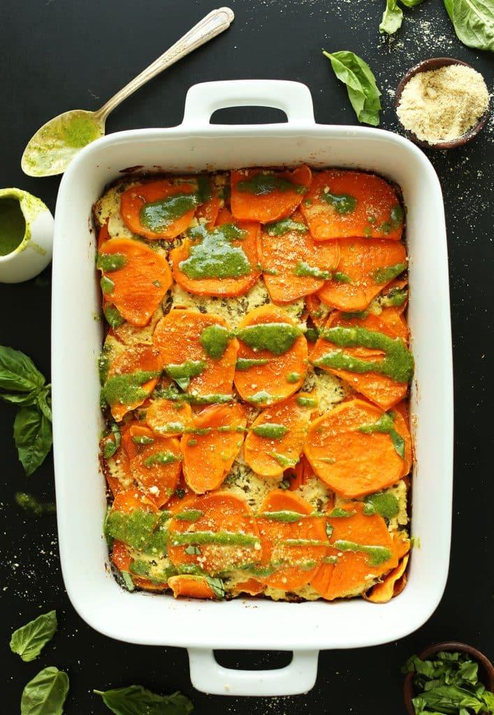 tray of sweet potato lasagna