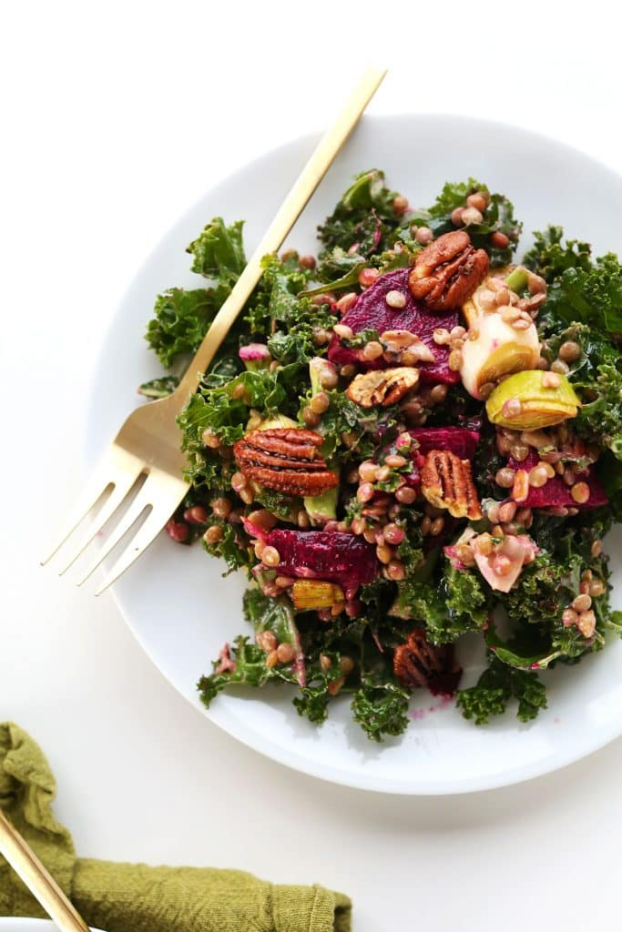 kale lentil beet salad